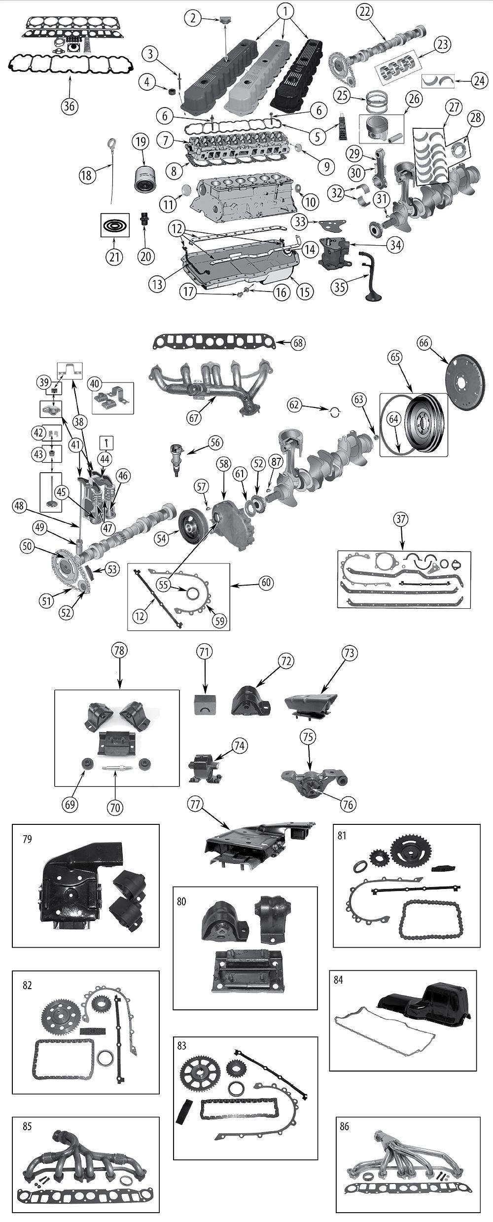 diagrama 4 0 litros  242  amc motor jeep yj wrangler 1986