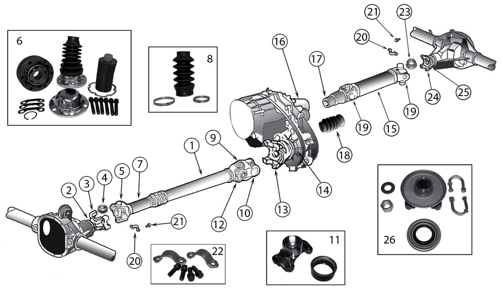 diagram propeller shafts jeep zj  zg grand cherokee 1993