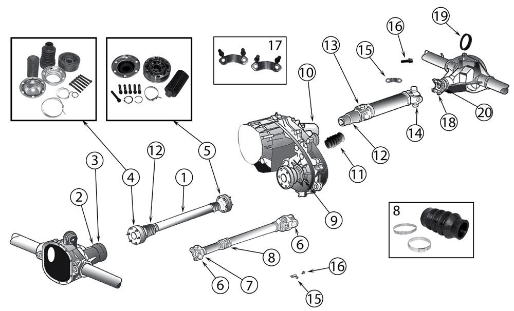 diagram propeller shafts jeep wj  wg grand cherokee 1999