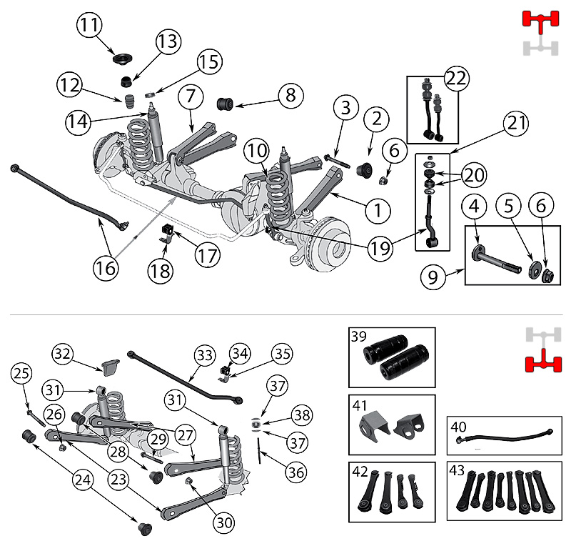 diagrama suspension jeep zj  zg grand cherokee 1993  1998