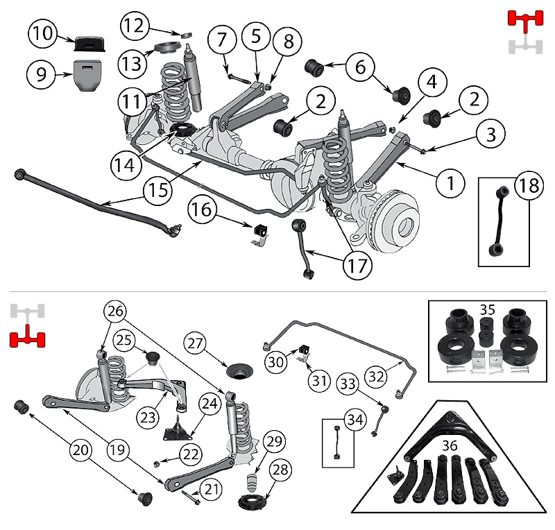 diagrama suspension jeep wj  wg grand cherokee 1999  2004