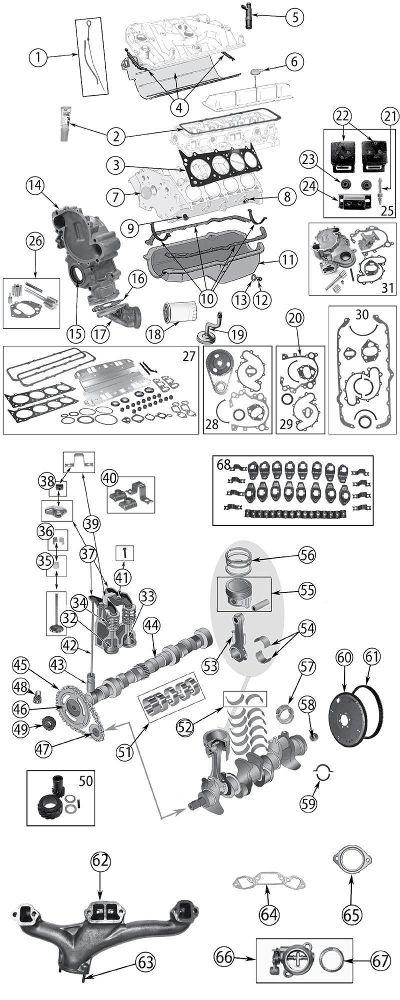 Diagram 5.0L (V8-304), 5.9L (V8-360), 6.6L (V8-401) Jeep SJ Grand Wagoneer  1962/1991 - Fortec GmbHChrysler Dodge Jeep