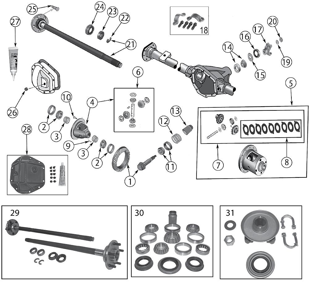 diagram rear axle dana 44 jeep zj  zg grand cherokee 1993