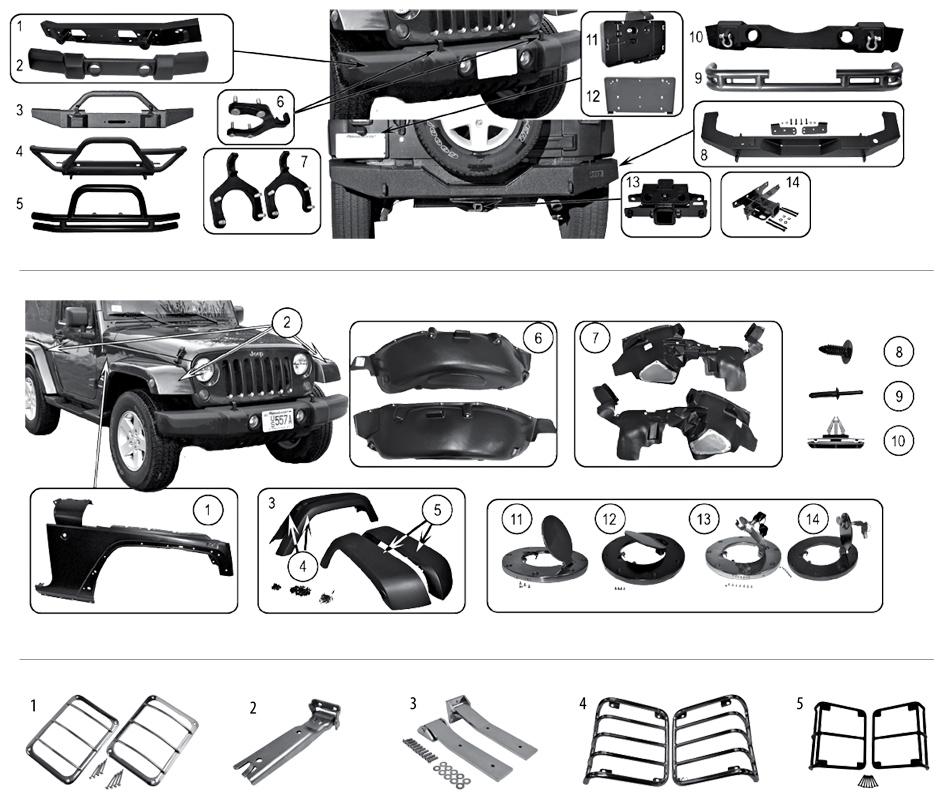 diagram bumpers  fenders  fender flares  tailgate jeep jk