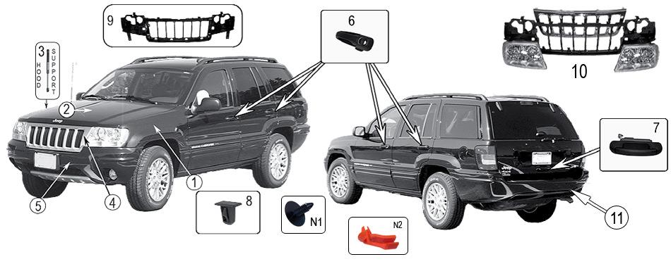 diagrama exterior jeep wj  wg grand cherokee 1999  2004