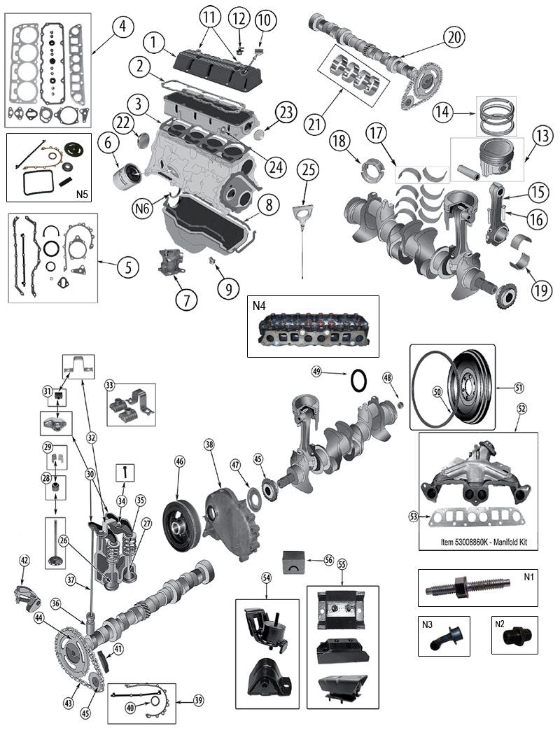Technick U00e9 Sch U00e9ma 2 5 Liter  150  Amc Motor Jeep Xj