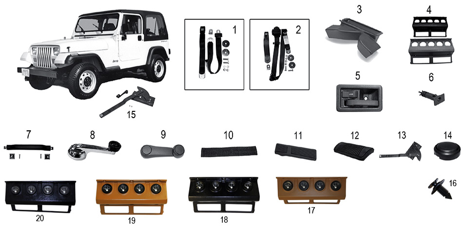 diagrama interior jeep yj wrangler 1986  1996