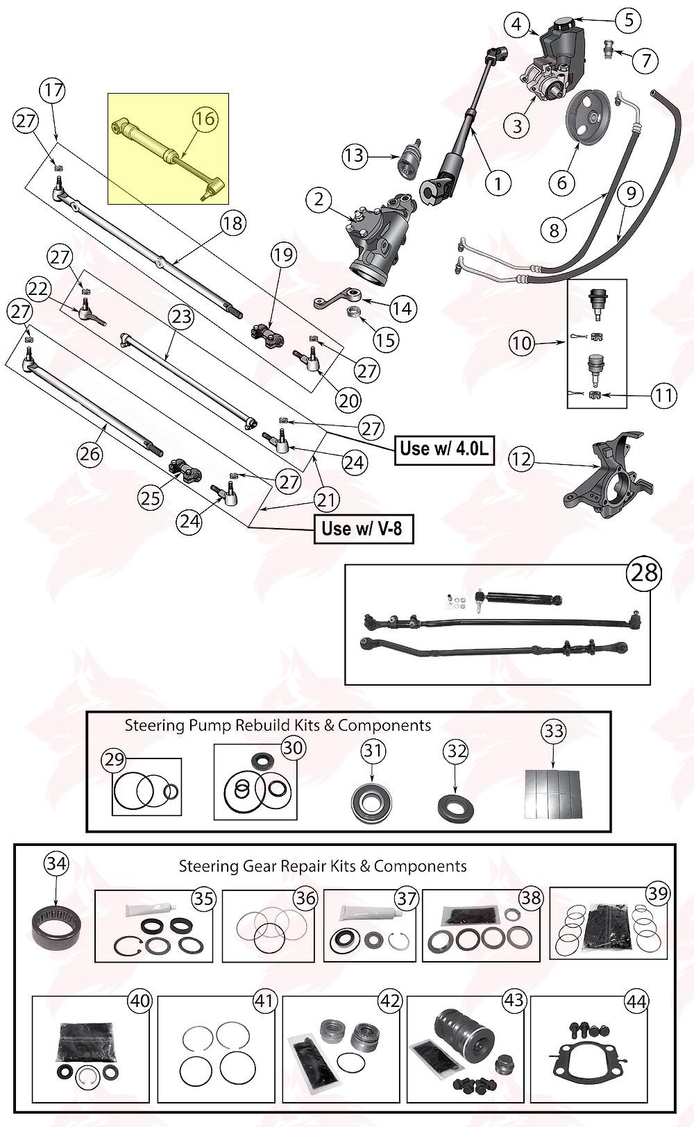 article pour model 52087827 amortisseur de direction for jeep zj  zg grand cherokee