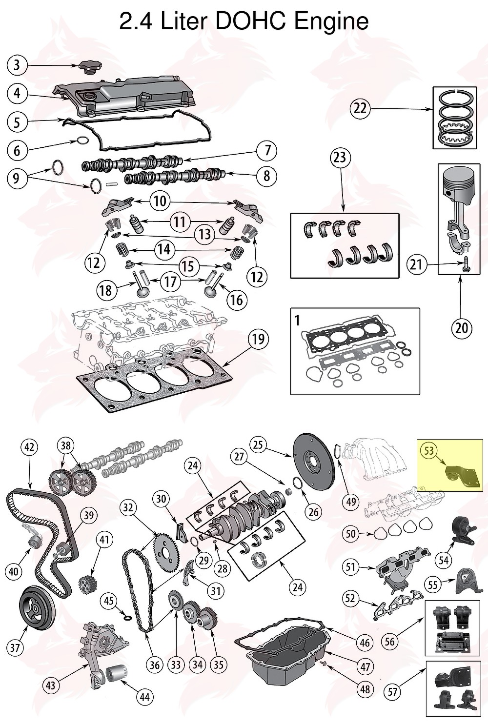 article pour model 52058551 montage de transmission for