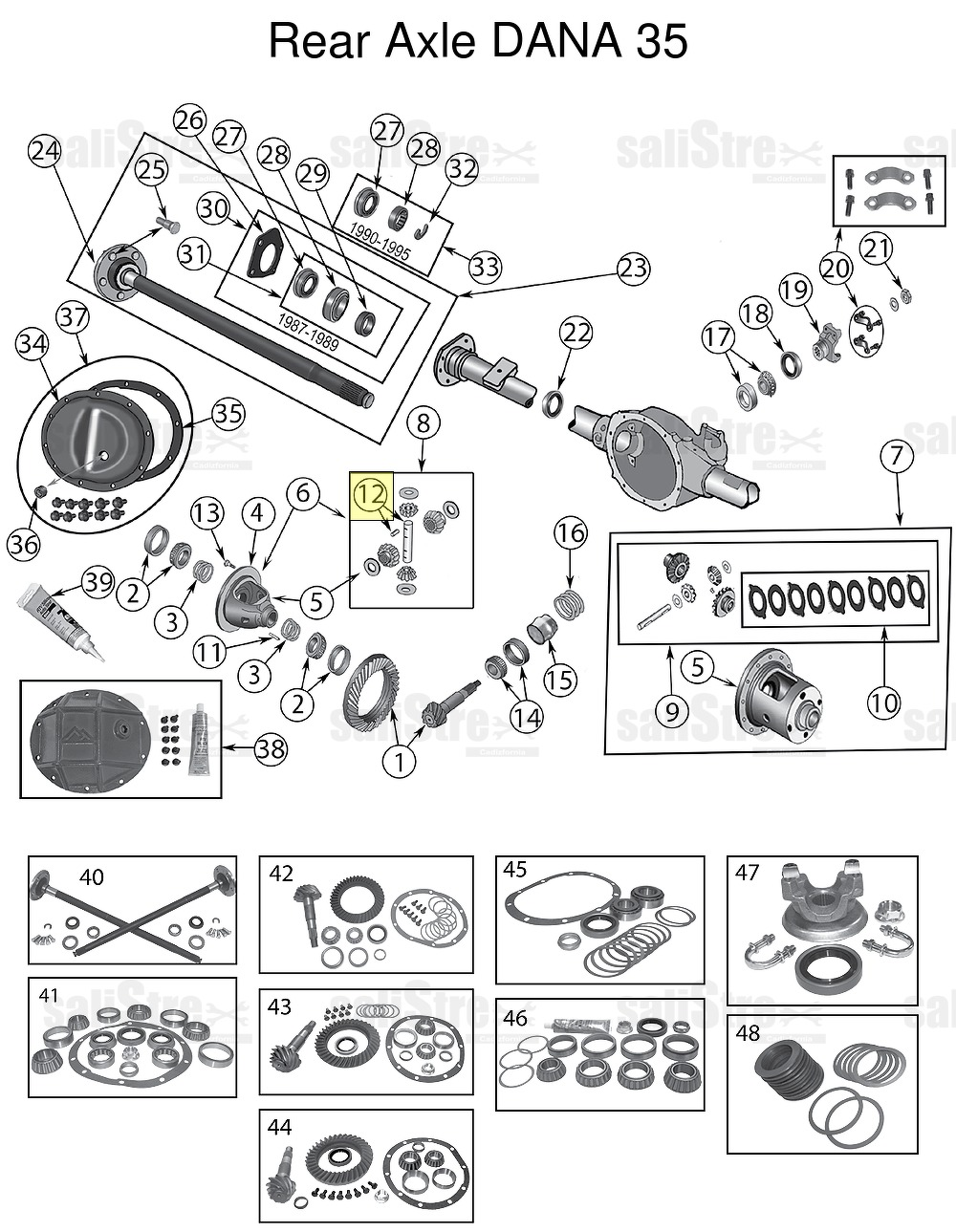 Kit Pin Y Eje Diferencial  Trasero Jeep Wrangler Yj 1990