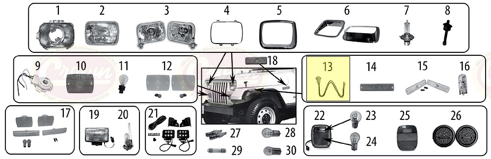 Fassung und Kabel Reparatur Kit Jeep Wrangler TJ 1997//2006 nicht EU