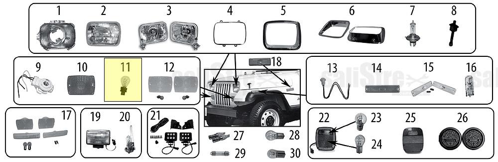 Bulb Jeep Wrangler Yj 1994  1995  2 5 L 4 0 L